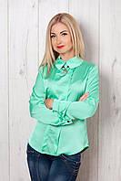 Оригинальная  блуза из атласного трикотажа мятного цвета