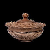 Миска-волна с крышкой глиняная Шляхтянская AD05 Покутская керамика 0,5 литра
