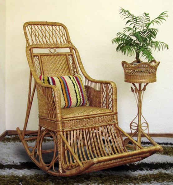 Мебель из лозы в интерьере, Кресло-качалка