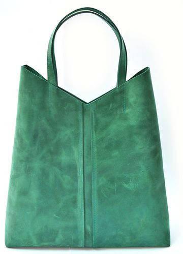 Симпатичная женская сумка-пакет из натуральной кожи GBAGS B.0005-ALI изумрудный