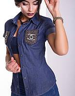 Джинсовая женская рубашка | Джина lzn