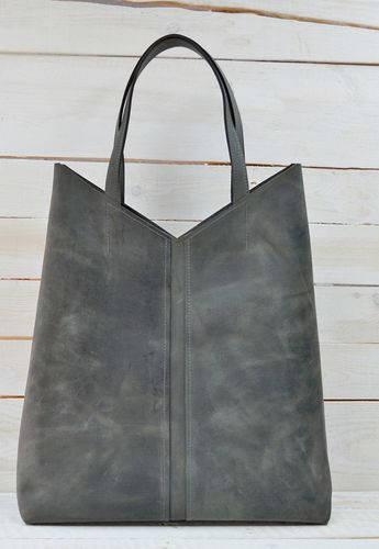 Большая  женская сумка-пакет из натуральной кожи GBAGS B.0005-СН серый