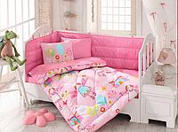 Детский комплект постельного белья с бортиками для новорожденных, ранфорс,Cotton Box Masal Pembe, Турция