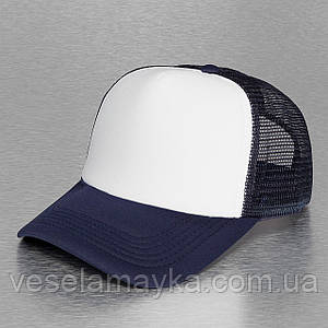 Темно-синяя кепка тракер с белым