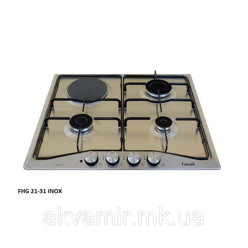 Варочная панель Fabiano FHG 21-31 Inox (комби 3 газ + 1 эл.) нерж. сталь
