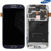 Дисплей + touchscreen (сенсор) для Samsung Galaxy S4 i9500, c передней панелью, синий, оригинал