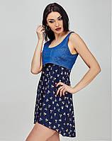 Оригинальное платье из джинса и шифона