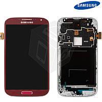 Дисплейный модуль (+ сенсор) для Samsung Galaxy S4 i9500, c передней панелью, красный, оригинал