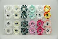 Серьги цветы из ткани с камнями бижутерия оптом