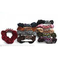 Резинка для волос велюровая с бусинками 10 см, фото 1