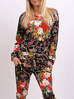 Спортивный костюм женский Турция 2-ка с цветочным принтом реглан новинка чёрный