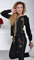 Стильный спортивный костюм женский Турция однотоный на змейке чёрный