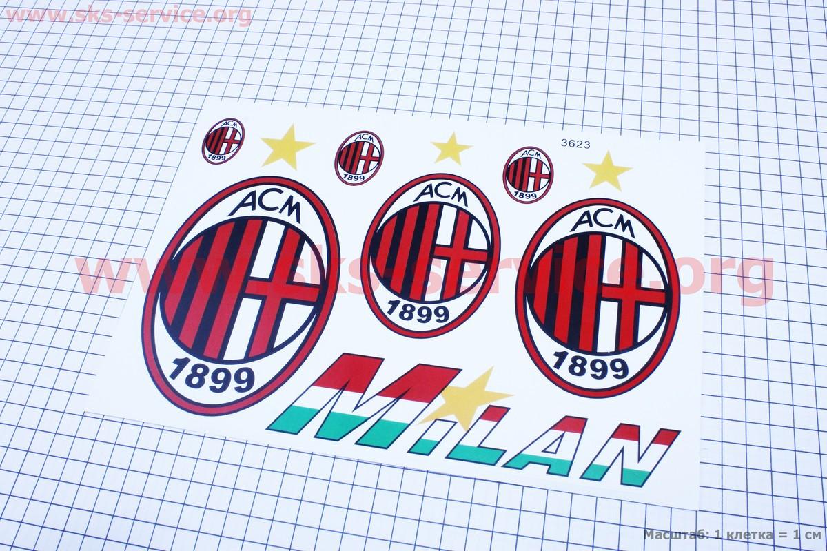 "Наклейки на планшете ""FC Milan"" набор из 7шт 19х27"