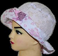 Детская шляпка Анжелика белый+розовый