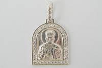 Святой Николай - православный подвес из серебра с фианитами