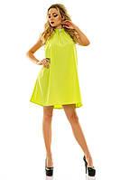 Женское свободное платье (шелк - масло) 42, горчичный