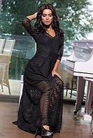 Длинное вечернее черное платье в из нежной полупрозрачной ткани