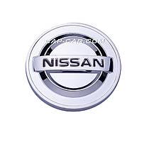 Колпачки заглушки для литых дисков Nissan серый+хром 54мм