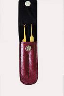 Набор пинцетов GM в чехле,цвет:бордо
