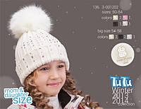 Шапка для девочки TuTu арт.136. 3-001202(50-54,54-58)