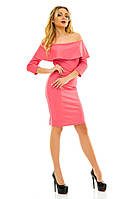 Женское коралловое платье с рюшем