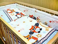 """Защита для детской кроватки и комплект постельки -""""Сова"""""""
