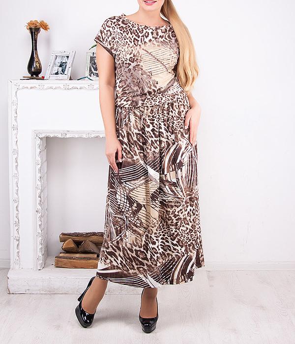 """Платье большого размера удлиненное """"Алиса"""" до 64 размера"""