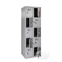 Секционный металлический шкаф (локер) на 10 ячеек 1800х600х500 мм