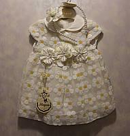 Платье на девочку +обруч на голову 0-1 год