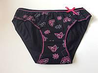 Трусики черные с розовой окантовкой