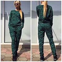 Костюм спортивный толстовка и штаны с карманами двухнитка - Зеленый