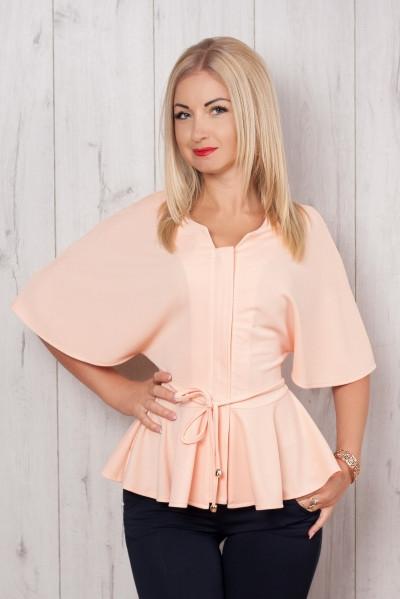 "Нарядная блуза ""Летучая мышь"" нежно розового цвета"