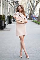 Платье на выпускной короткое с воланом на одно плечо - Кофе с молоком