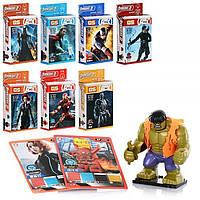 Конструктор ОдВи Конструктор супергерой, фигурка, на подст-ке, карт 3 шт, 8 видов, в кор-ке