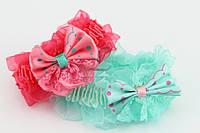 Детская резинка для волос с бантиком в горох разноцветная