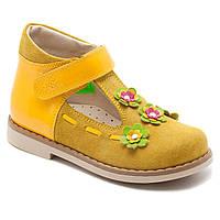 Туфли летние, кожаные для девочки на липучке ТМ FS collection. Размер 20-30