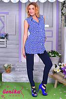 Тонкие брюки для беременных из штапеля Темно-синие
