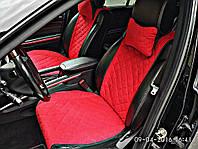 Накидки на сиденья автомобиля премиум (передние, AVторитет, красный), фото 1