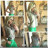 Рубашка блузка безрукавка женская лен