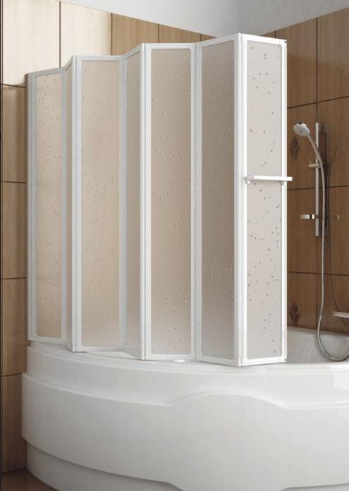 Шторка для ванн Aquaform NOVUM-7  семи элементная с белым профилем
