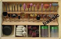 Набор насадок для гравера в деревянном кейсе (102)