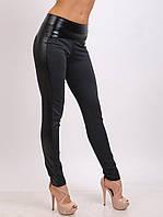 Леггинсы брюки Турция с кокеткой и лампасами из экокожи, фото 1
