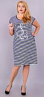 Якорь. Платье в крупную полоску большого размера. Полоска., фото 1