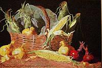 "Картина вышитая шелком ""Овощи"", 50х80 см"