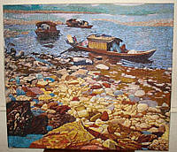 """Картина вышитая шелком """"Лодки"""", 70х80 см"""