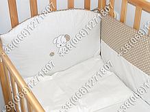 Детское постельное белье в кроватку с вышивкой Песик, комплект 8 ед. без балдахина (бежевый), фото 3