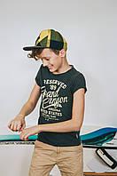 """Летние кепки для подростков с прямым козырьком """"Трек""""  желтого цвета."""