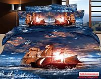 Постельное белье с яхтой на морском  закате.