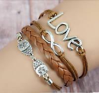 Многослойный плетеный браслет  коричневый бесконечная любовь совы
