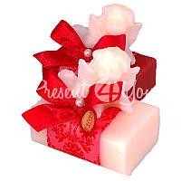 Подарочное натуральное мыло ручной роботы с овечьим молоком Австрия «Ангел с красным бантом» Florex